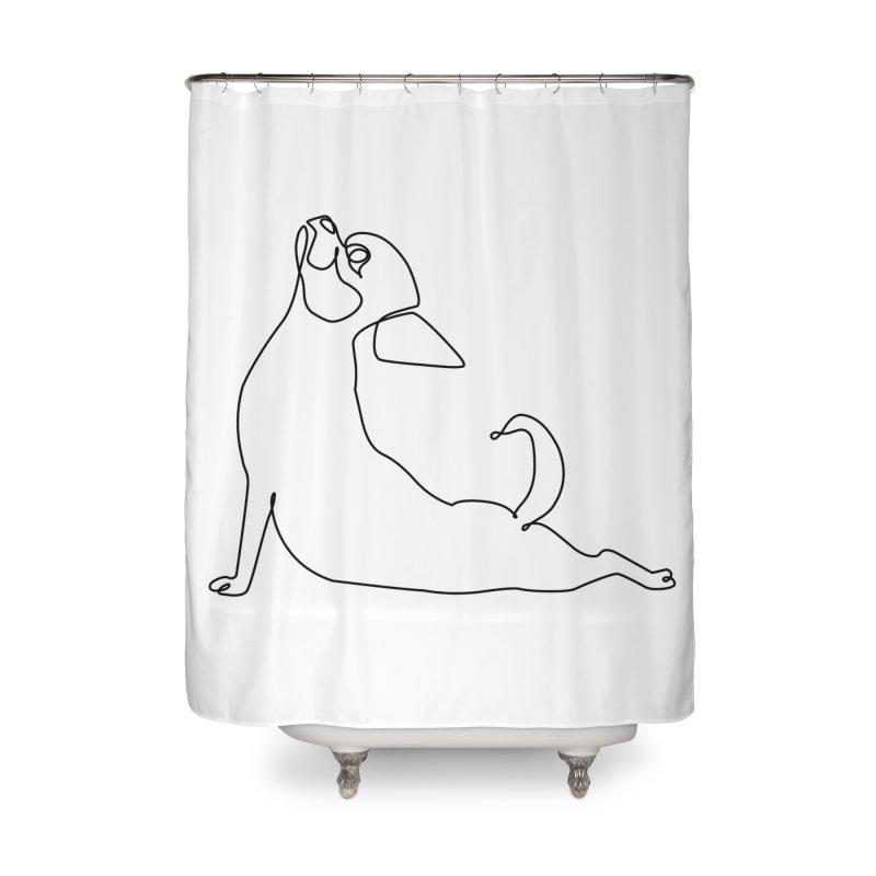One Line Chihuahua Upward Facing Dog Home Shower Curtain by huebucket's Artist Shop