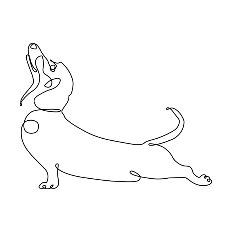 One Line Dachshund Upward Facing Dog Men's T-Shirt by huebucket's Artist Shop