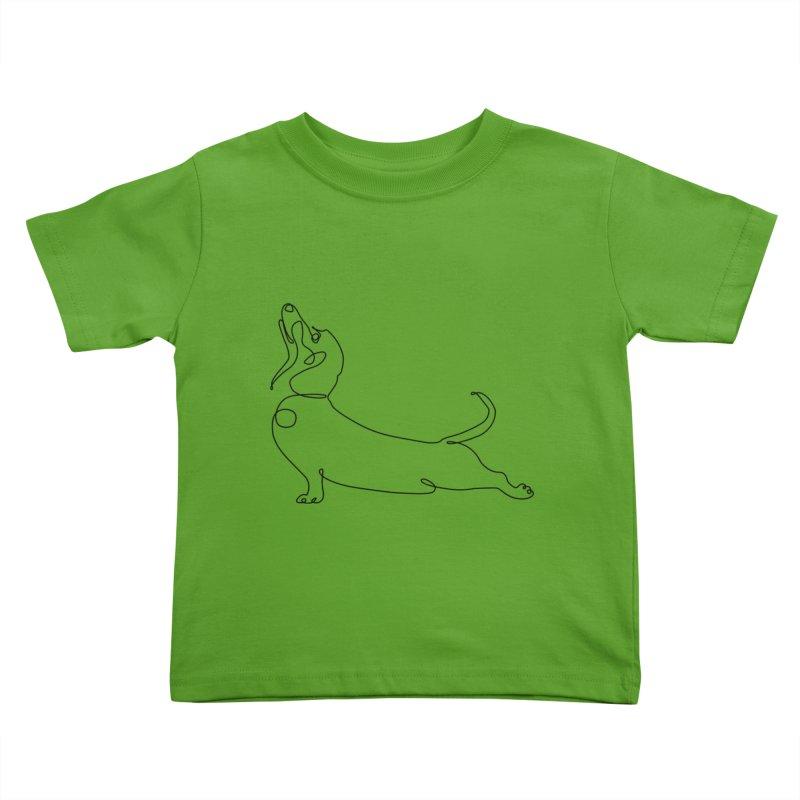 One Line Dachshund Upward Facing Dog Kids Toddler T-Shirt by huebucket's Artist Shop