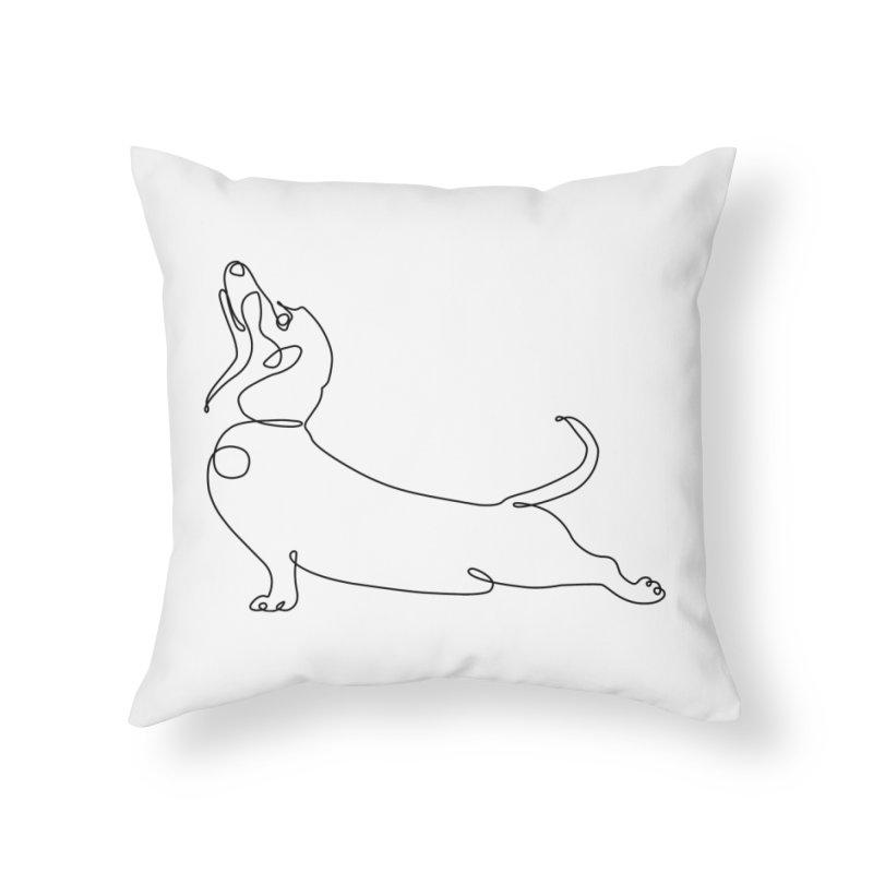 One Line Dachshund Upward Facing Dog Home Throw Pillow by huebucket's Artist Shop