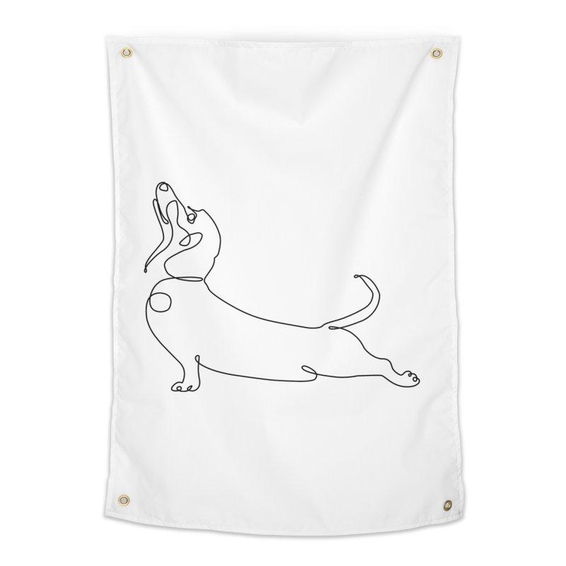 One Line Dachshund Upward Facing Dog Home Tapestry by huebucket's Artist Shop