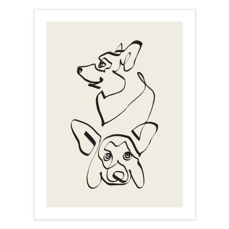 Abstract line Corgi Home Fine Art Print by huebucket's Artist Shop