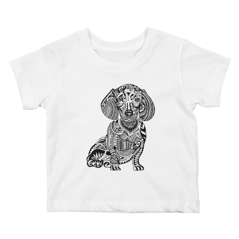 Polynesian Dachshund Kids Baby T-Shirt by huebucket's Artist Shop