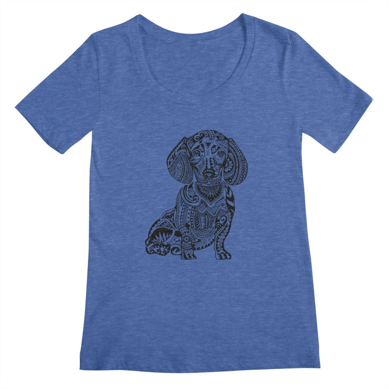 Polynesian Dachshund Women's Scoopneck by huebucket's Artist Shop