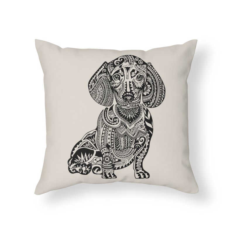 Polynesian Dachshund Home Throw Pillow by huebucket's Artist Shop