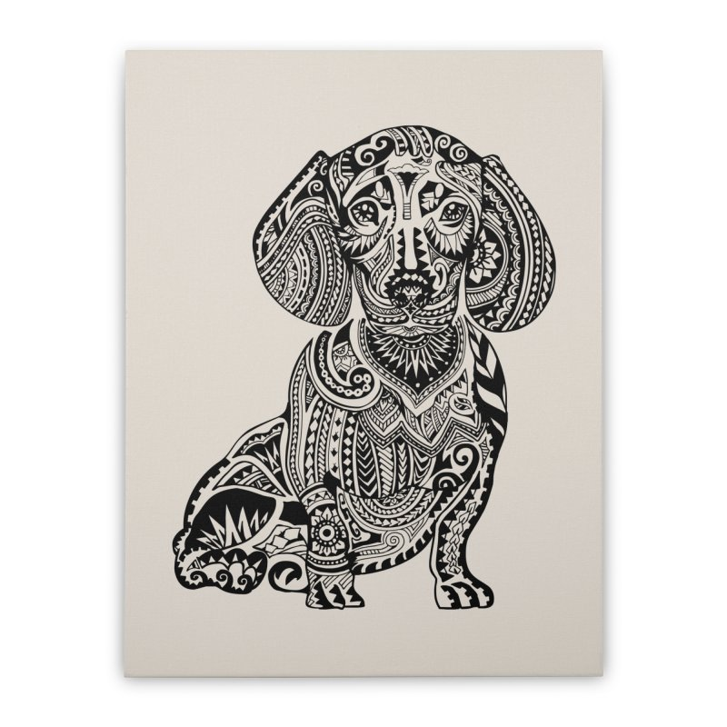 Polynesian Dachshund Home Stretched Canvas by huebucket's Artist Shop