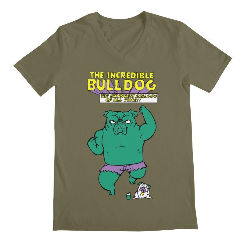 The Incredible English Bulldog Men's V-Neck by huebucket's Artist Shop