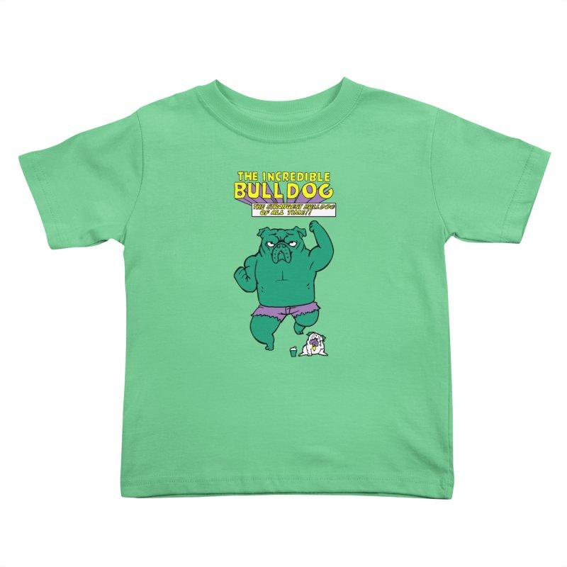 The Incredible English Bulldog Kids Toddler T-Shirt by huebucket's Artist Shop