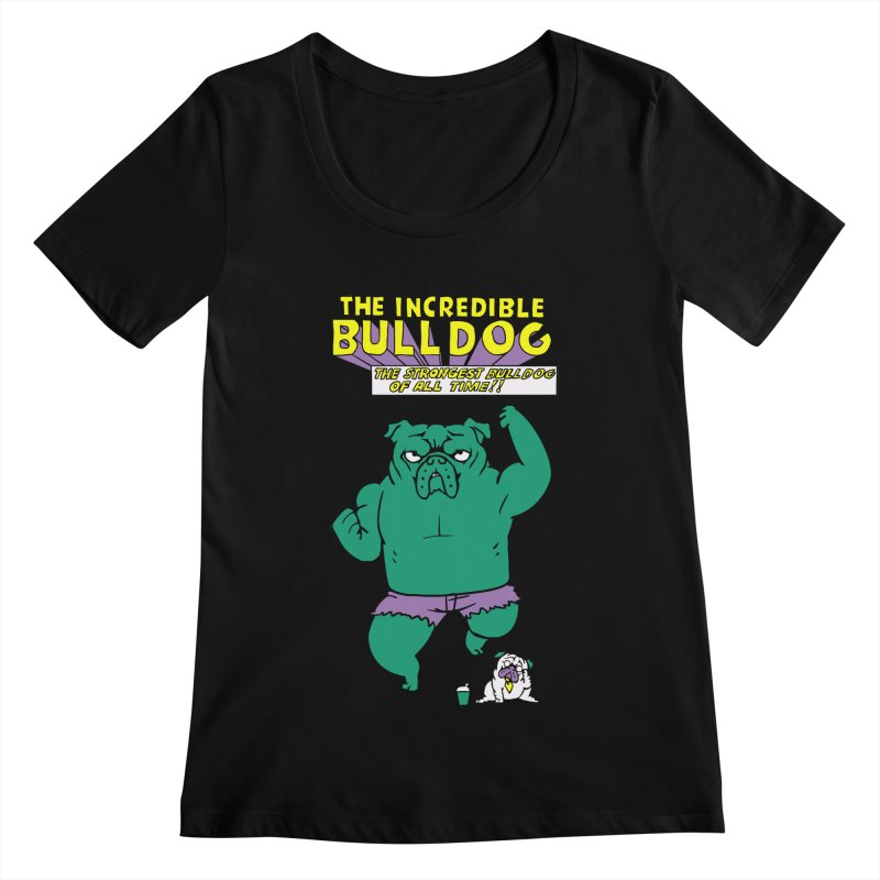 The Incredible English Bulldog Women's Scoopneck by huebucket's Artist Shop
