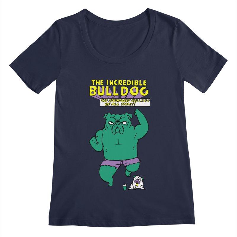 The Incredible English Bulldog Women's Scoopneck by huebucket's Artist Shop