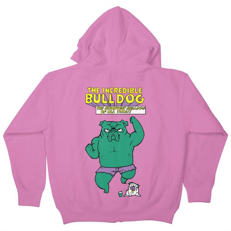 The Incredible English Bulldog Kids Zip-Up Hoody by huebucket's Artist Shop