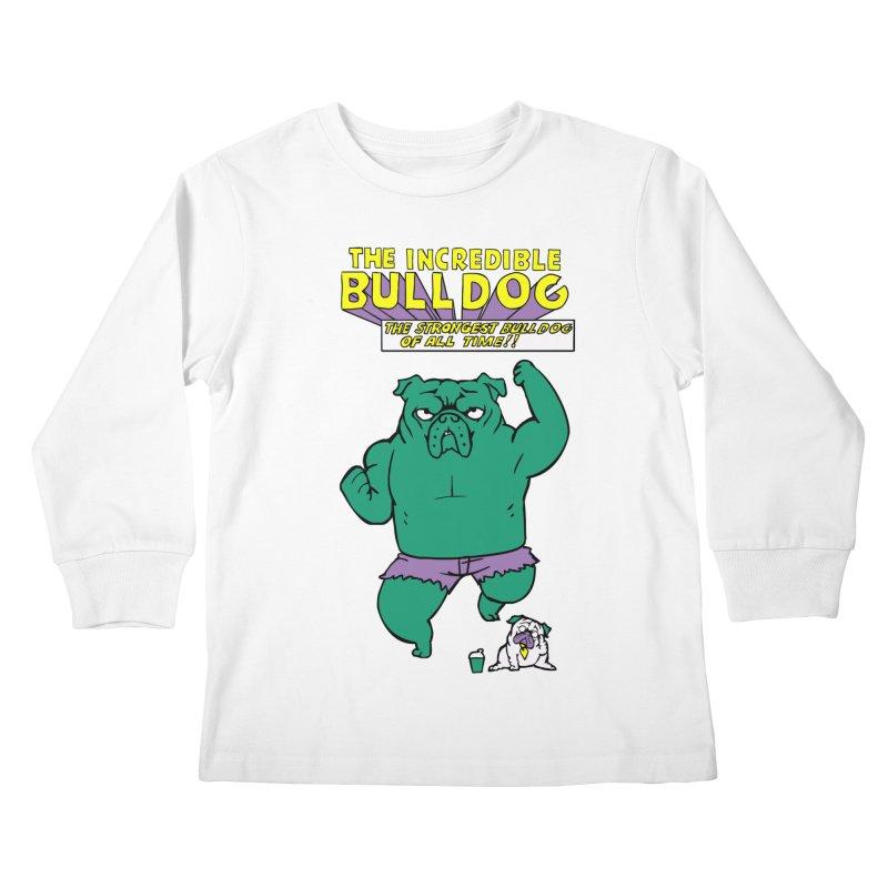 The Incredible English Bulldog Kids Longsleeve T-Shirt by huebucket's Artist Shop