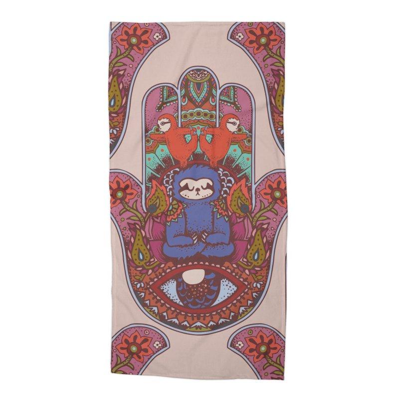 Hamsa Sloth Accessories Beach Towel by huebucket's Artist Shop