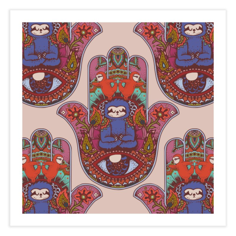Hamsa Sloth Home Fine Art Print by huebucket's Artist Shop