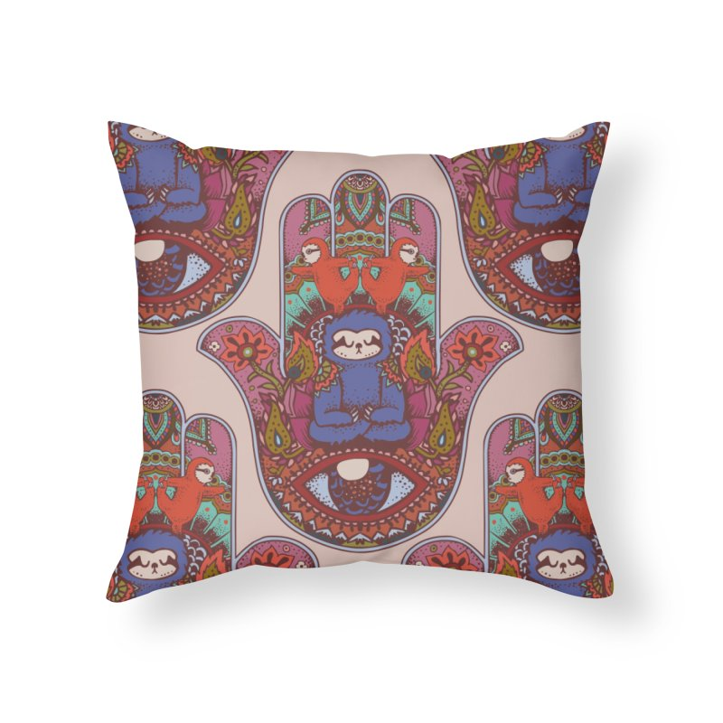 Hamsa Sloth Home Throw Pillow by huebucket's Artist Shop