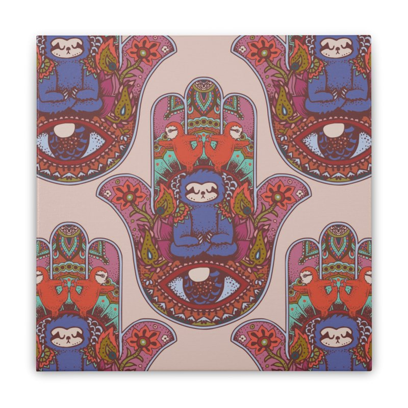Hamsa Sloth Home Stretched Canvas by huebucket's Artist Shop