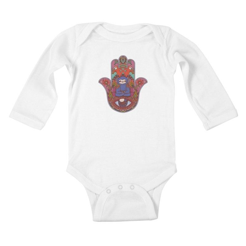Hamsa Sloth Kids Baby Longsleeve Bodysuit by huebucket's Artist Shop