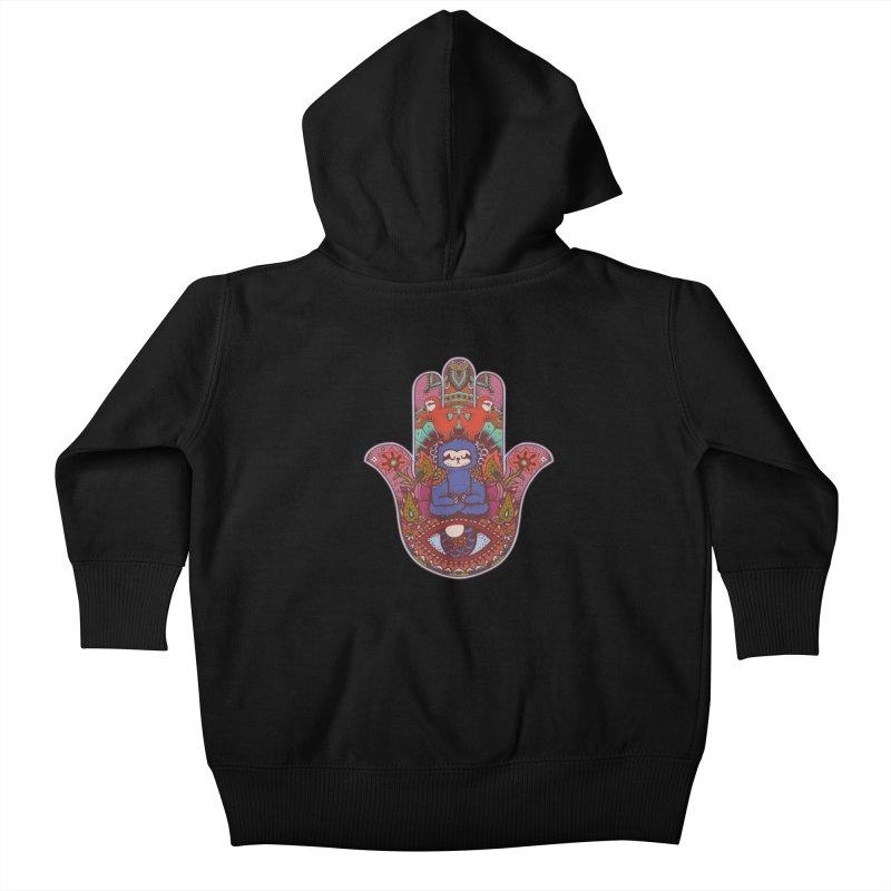 Hamsa Sloth Kids Baby Zip-Up Hoody by huebucket's Artist Shop