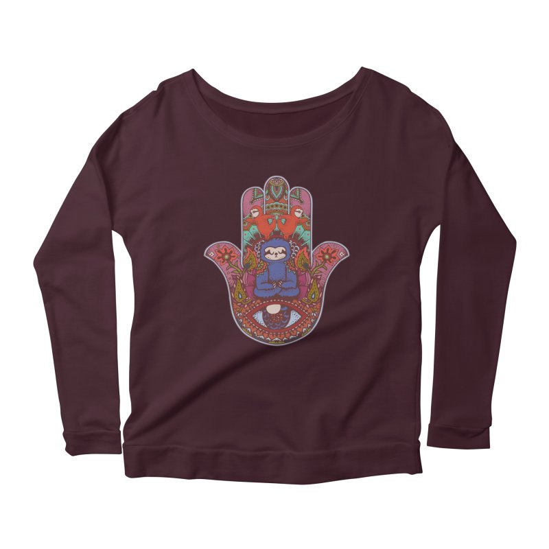 Hamsa Sloth Women's Longsleeve Scoopneck  by huebucket's Artist Shop