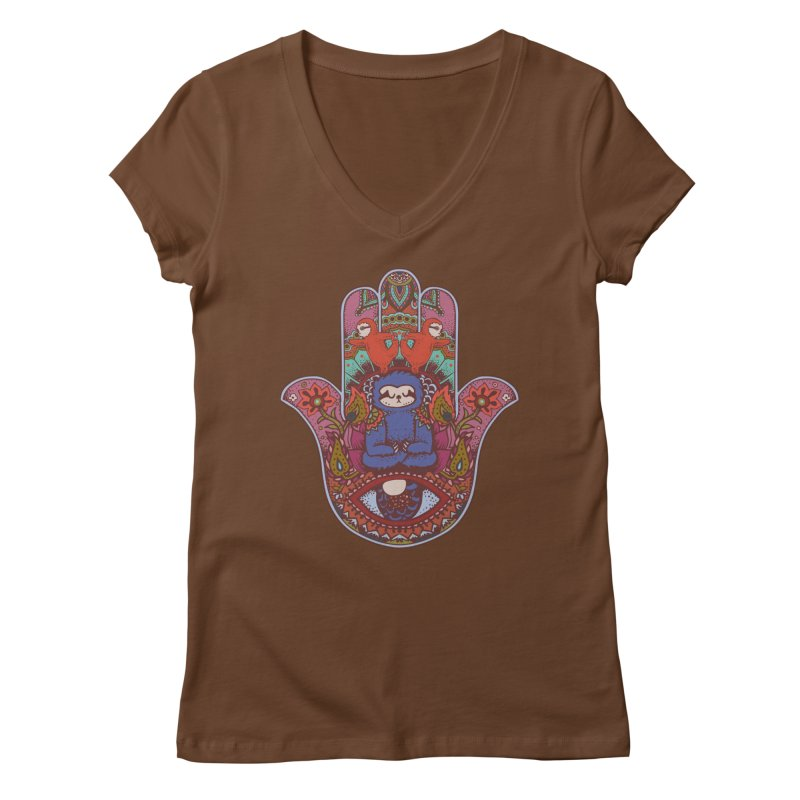 Hamsa Sloth Women's V-Neck by huebucket's Artist Shop
