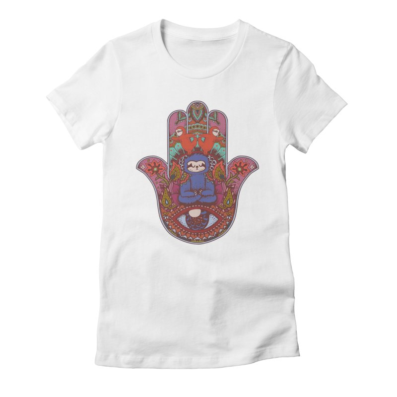 Hamsa Sloth Women's Fitted T-Shirt by huebucket's Artist Shop