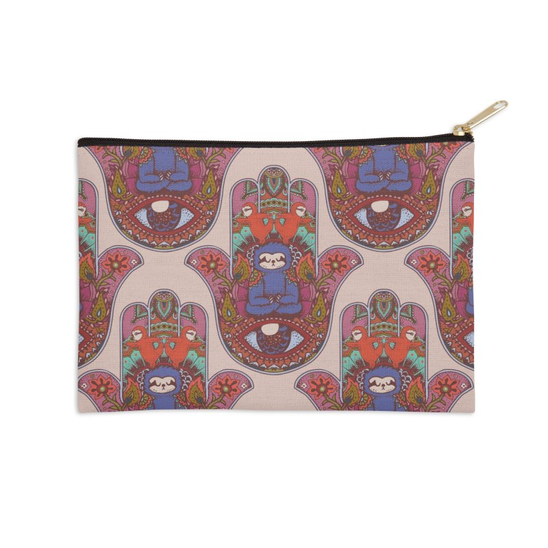 Hamsa Sloth Accessories Zip Pouch by huebucket's Artist Shop
