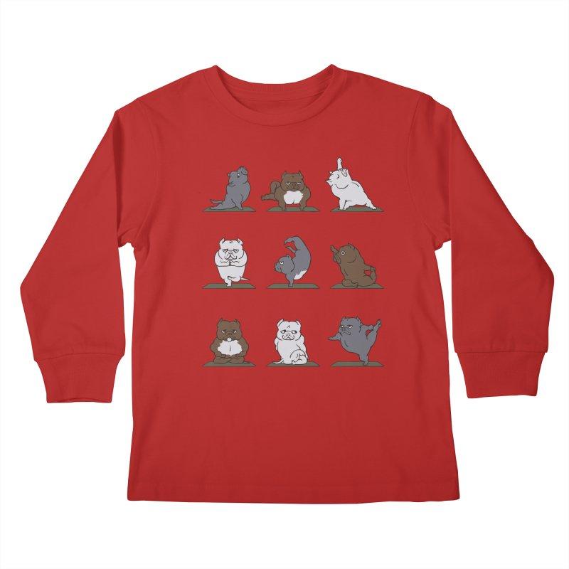 The American Bully Yoga Kids Longsleeve T-Shirt by huebucket's Artist Shop