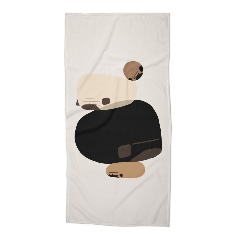 Balance Rock Abstract Pug Accessories Beach Towel by huebucket's Artist Shop