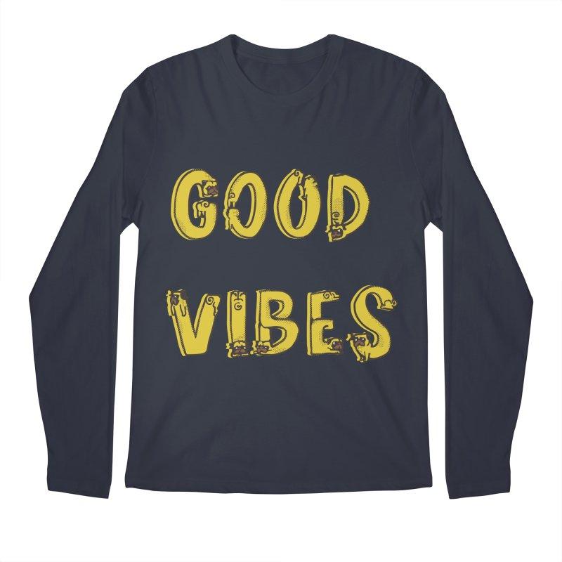 Good Vibes Pugs Men's Longsleeve T-Shirt by huebucket's Artist Shop