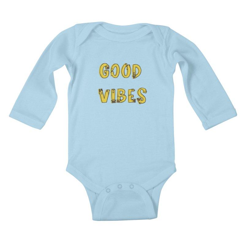 Good Vibes Pugs Kids Baby Longsleeve Bodysuit by huebucket's Artist Shop