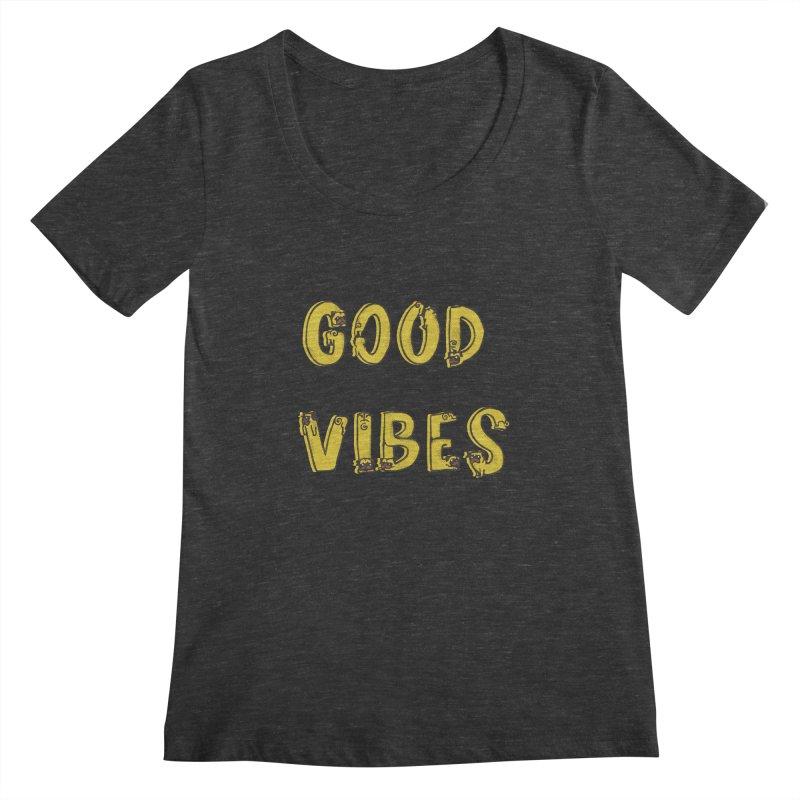 Good Vibes Pugs Women's Scoopneck by huebucket's Artist Shop