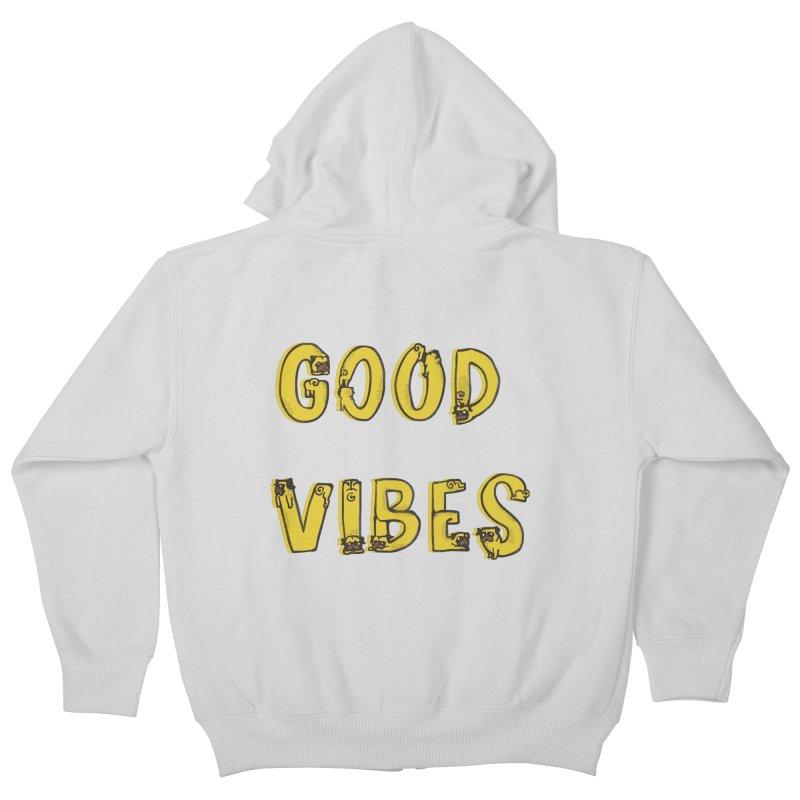 Good Vibes Pugs Kids Zip-Up Hoody by huebucket's Artist Shop