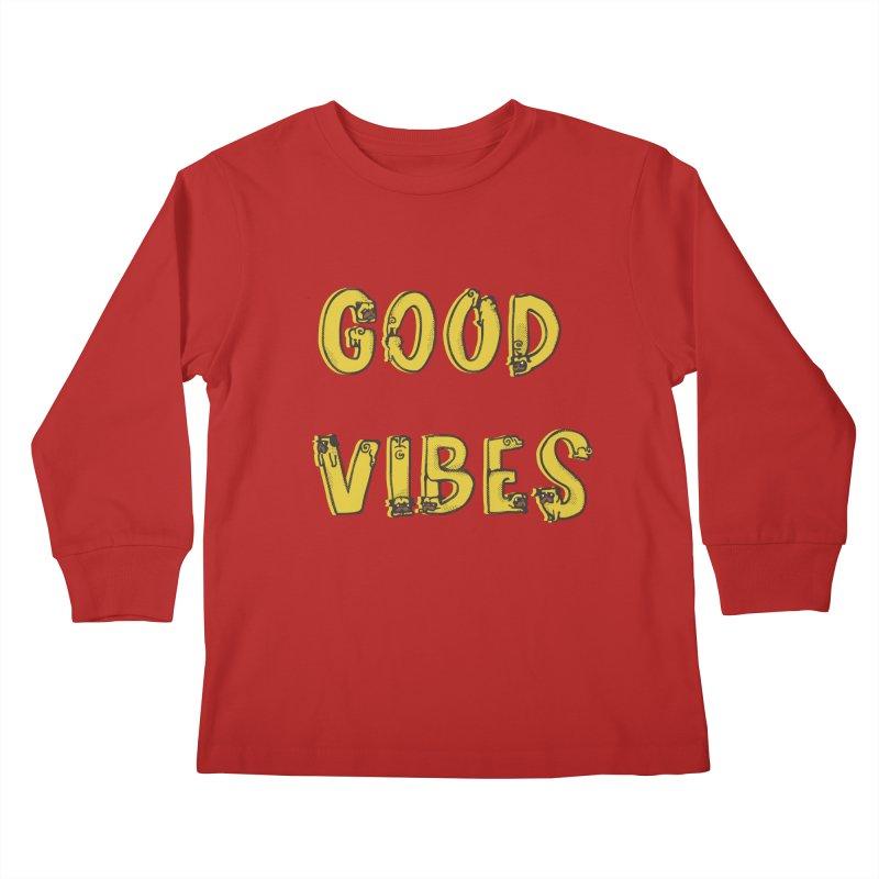 Good Vibes Pugs Kids Longsleeve T-Shirt by huebucket's Artist Shop