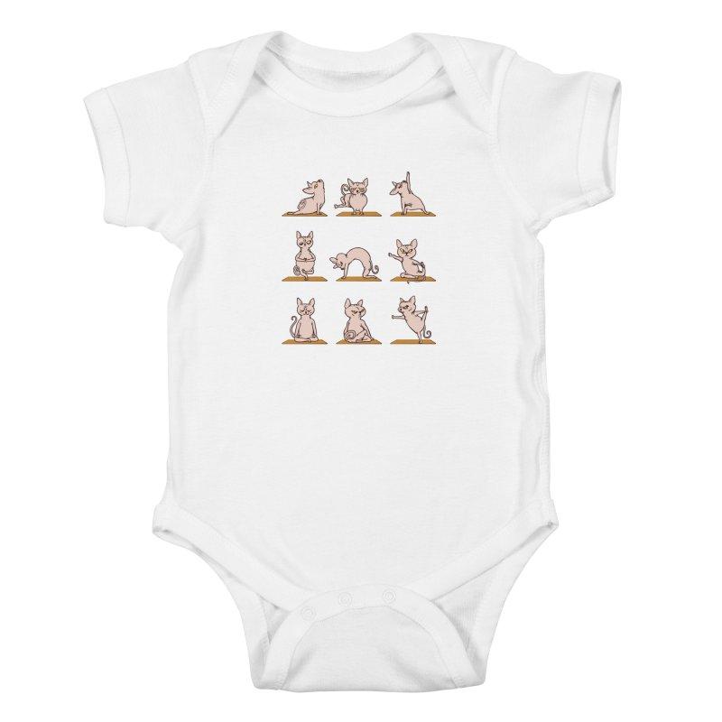 Sphynx Cat Yoga Kids Baby Bodysuit by huebucket's Artist Shop