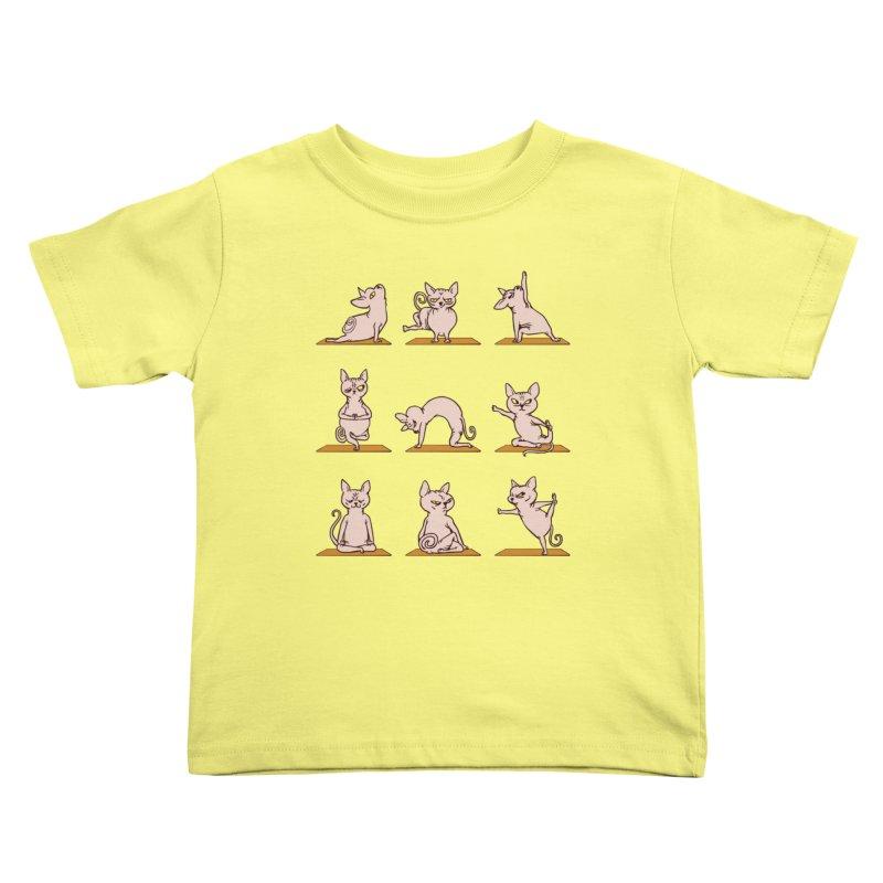 Sphynx Cat Yoga Kids Toddler T-Shirt by huebucket's Artist Shop