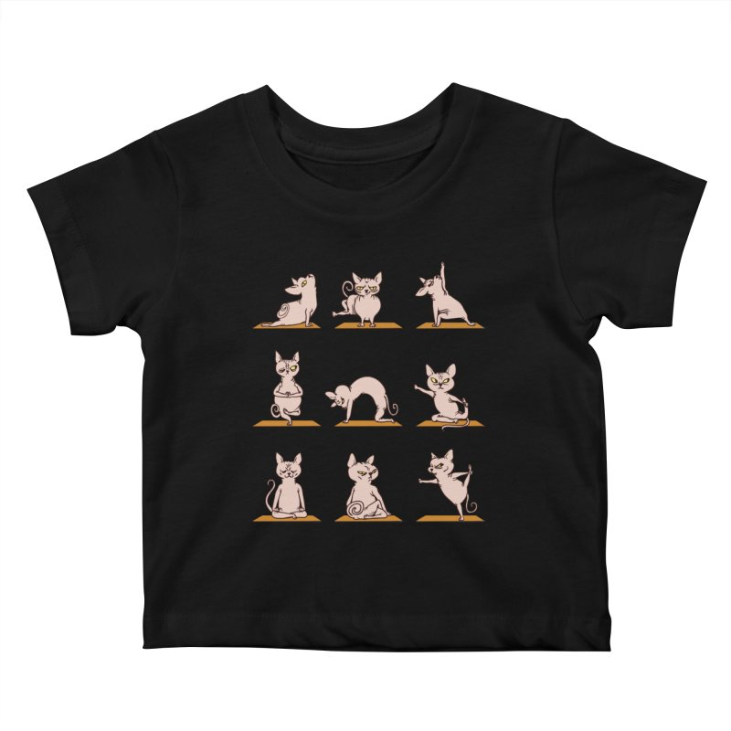Sphynx Cat Yoga Kids Baby T-Shirt by huebucket's Artist Shop