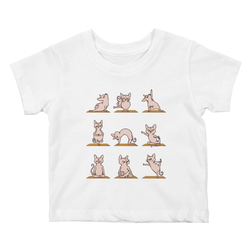 Sphynx Cat Yoga Kids Baby T-Shirt by huebucket's Artist Shop