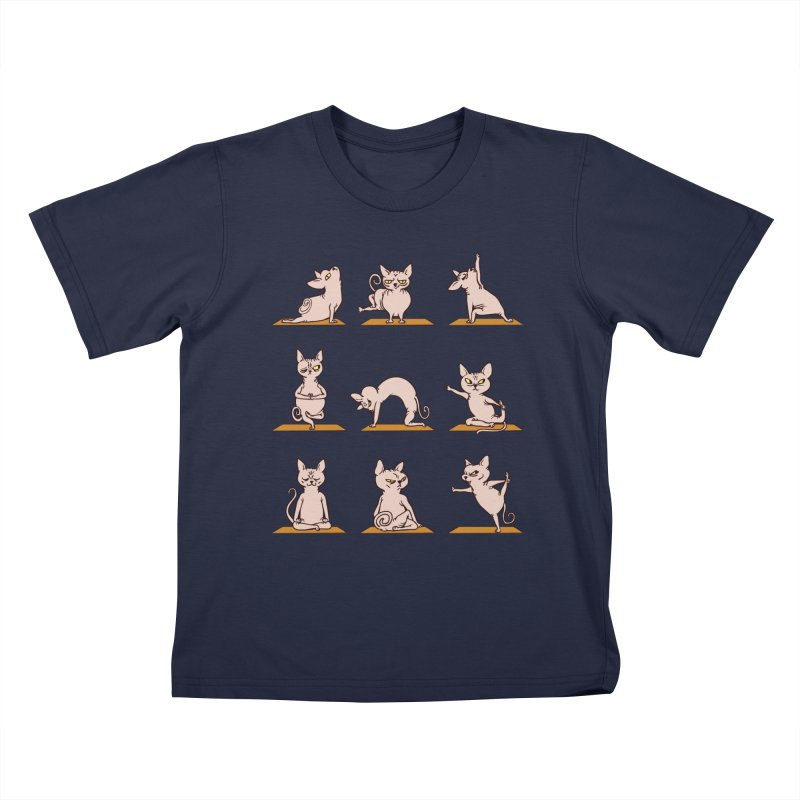 Sphynx Cat Yoga Kids T-shirt by huebucket's Artist Shop