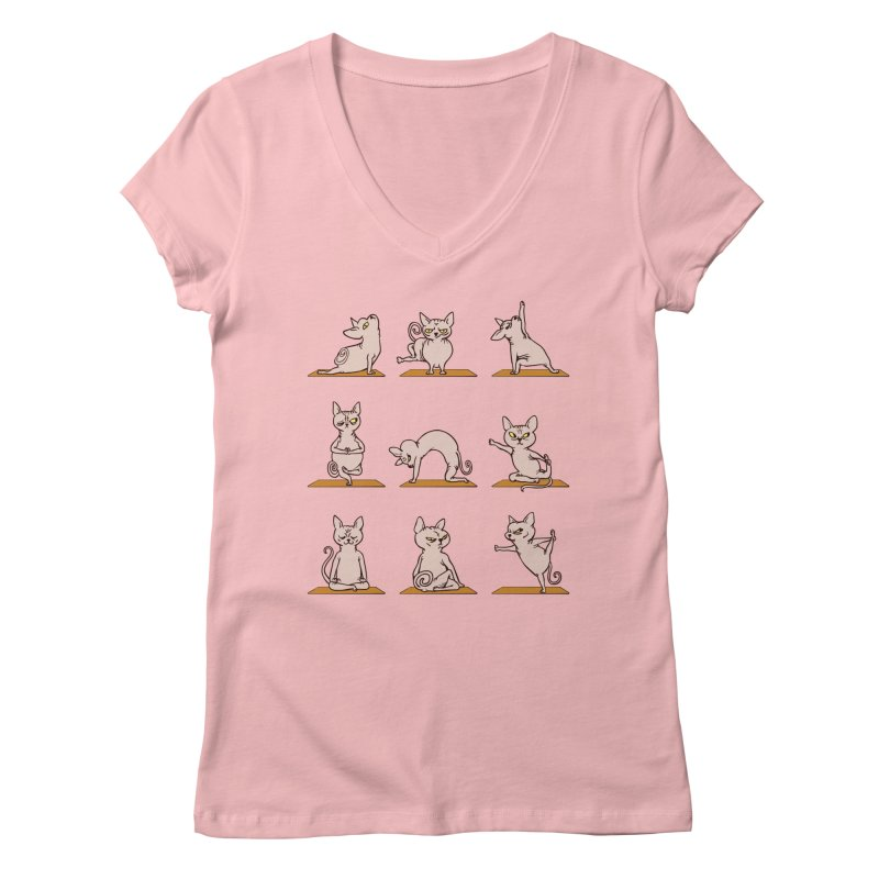 Sphynx Cat Yoga Women's V-Neck by huebucket's Artist Shop