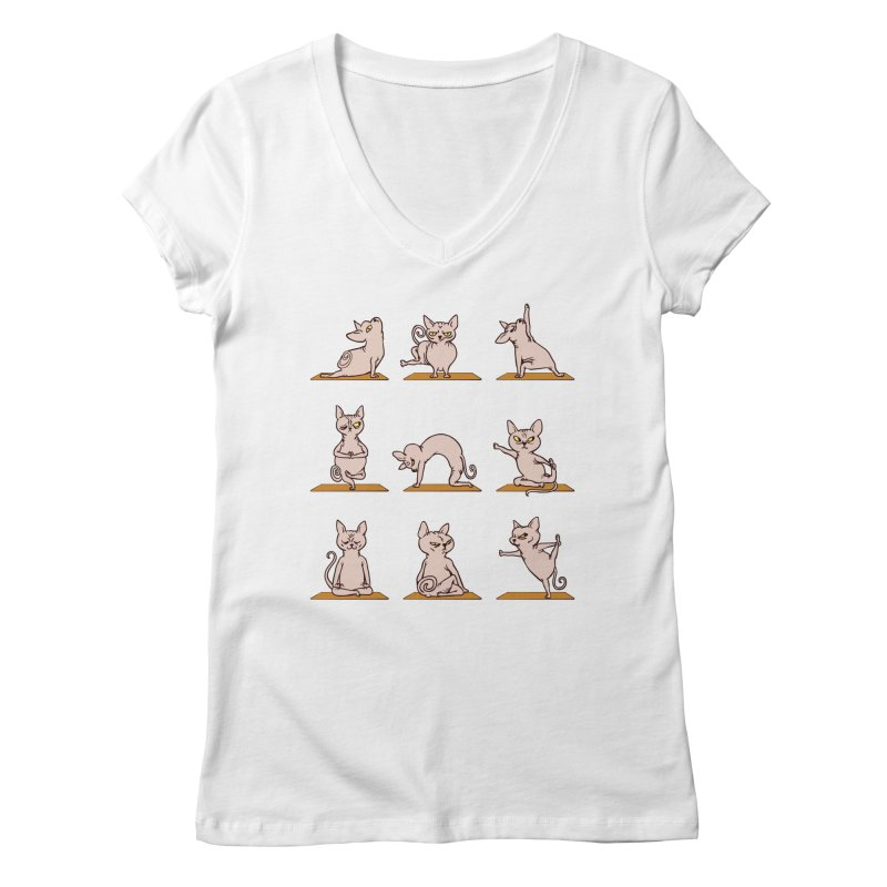 Sphynx Cat Yoga Women's V-Neck by huebucket's Artist Shop