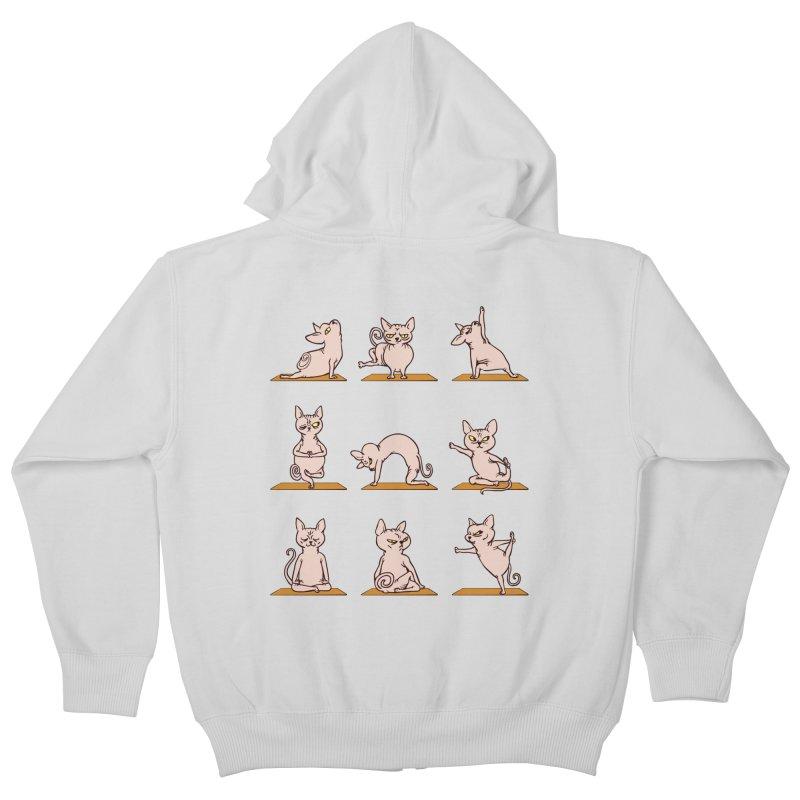 Sphynx Cat Yoga Kids Zip-Up Hoody by huebucket's Artist Shop