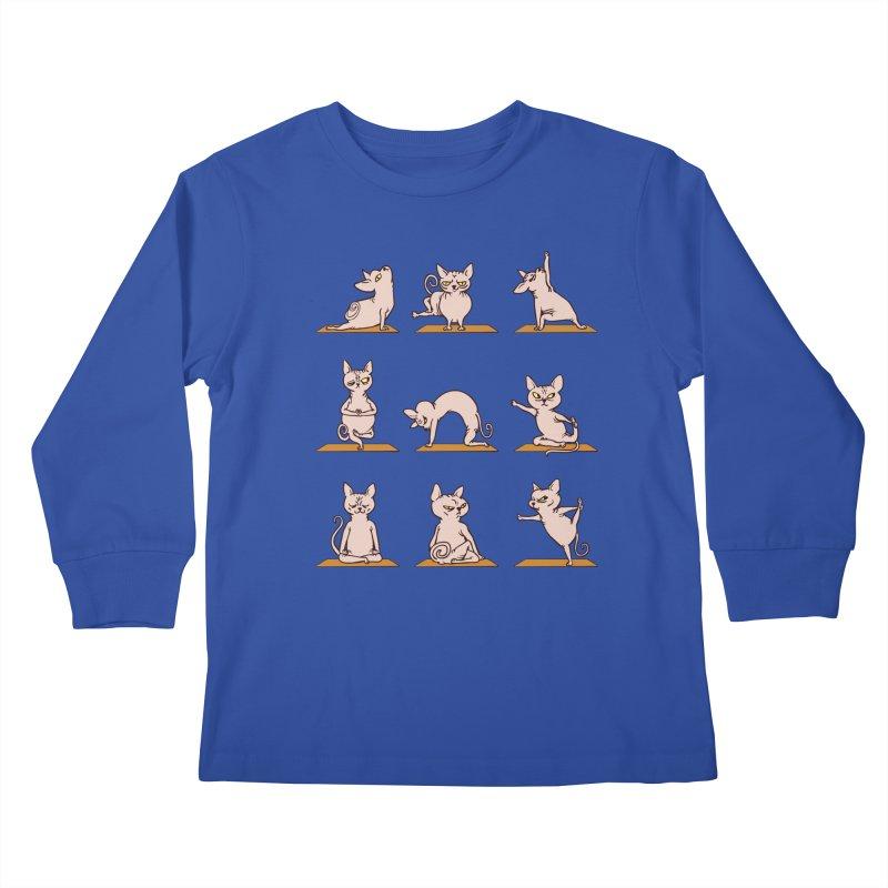 Sphynx Cat Yoga Kids Longsleeve T-Shirt by huebucket's Artist Shop
