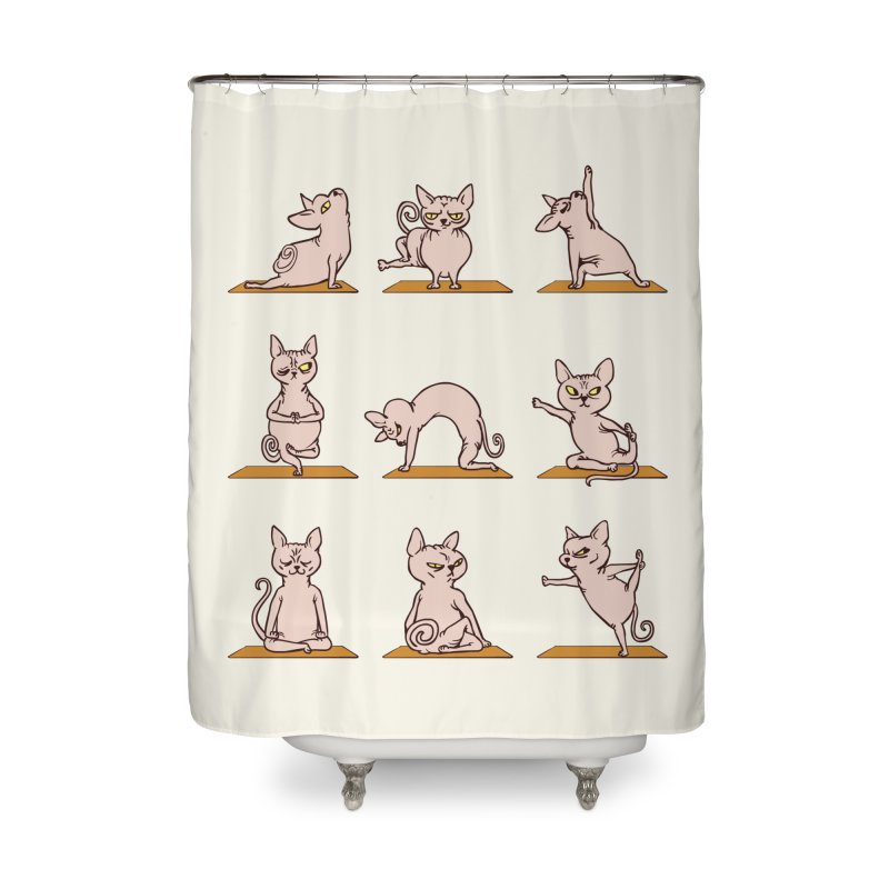 Sphynx Cat Yoga Home Shower Curtain by huebucket's Artist Shop