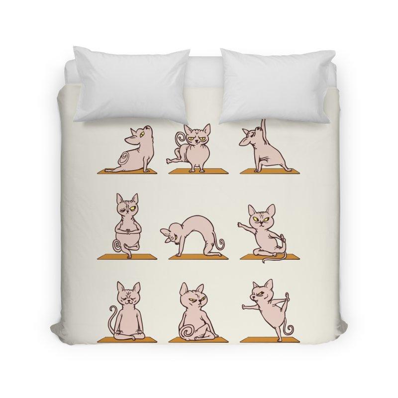 Sphynx Cat Yoga Home Duvet by huebucket's Artist Shop