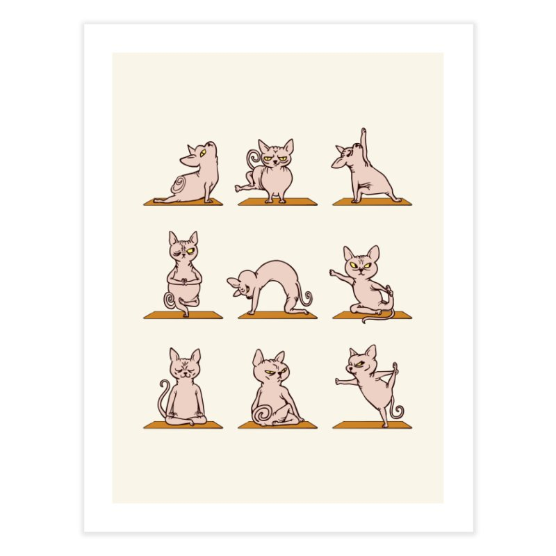 Sphynx Cat Yoga Home Fine Art Print by huebucket's Artist Shop