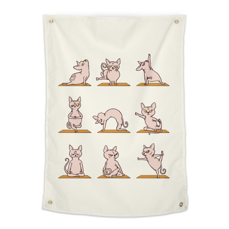 Sphynx Cat Yoga Home Tapestry by huebucket's Artist Shop