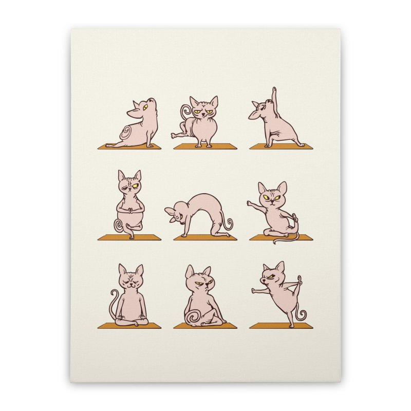 Sphynx Cat Yoga Home Stretched Canvas by huebucket's Artist Shop