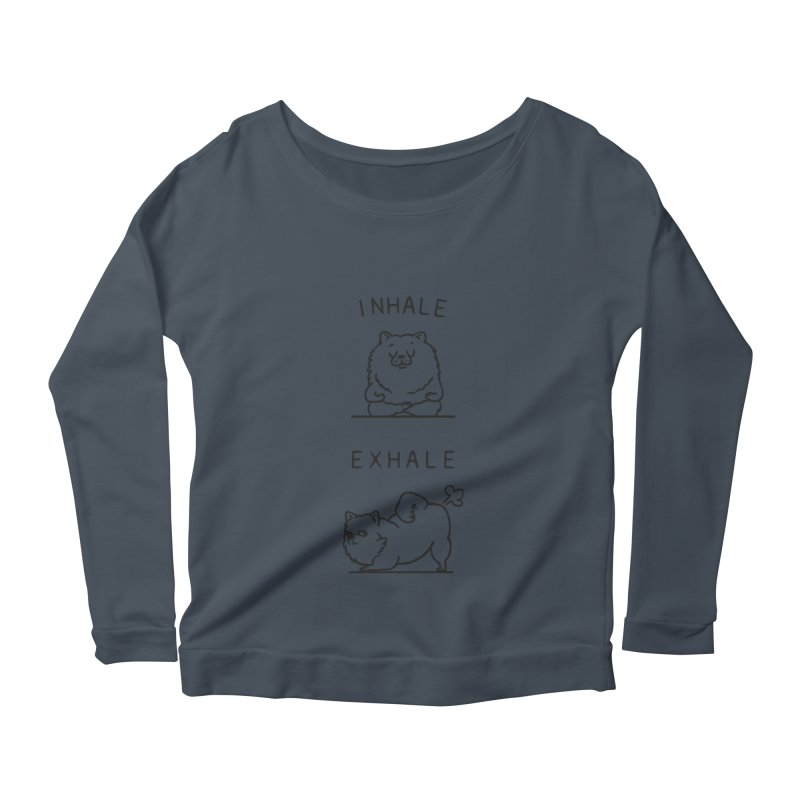 Inhale Exhale Pomeranian Women's Longsleeve Scoopneck  by huebucket's Artist Shop