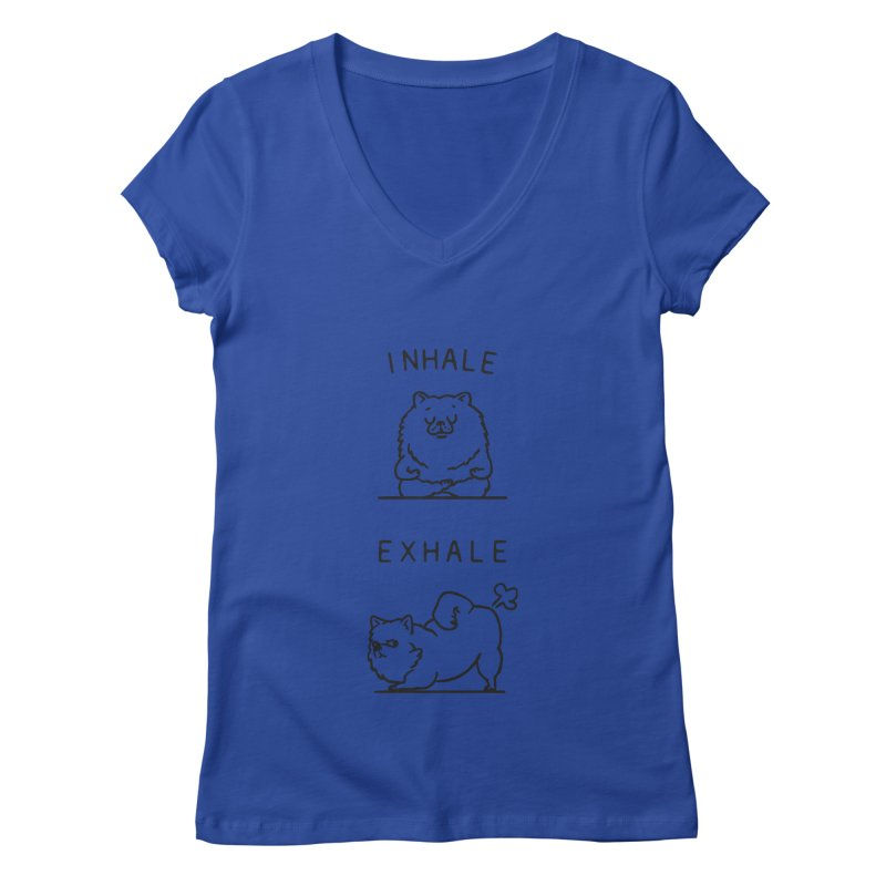 Inhale Exhale Pomeranian Women's V-Neck by huebucket's Artist Shop