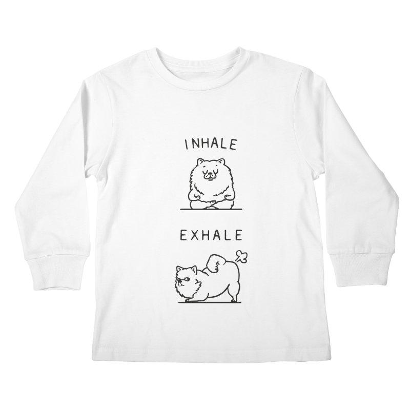 Inhale Exhale Pomeranian Kids Longsleeve T-Shirt by huebucket's Artist Shop
